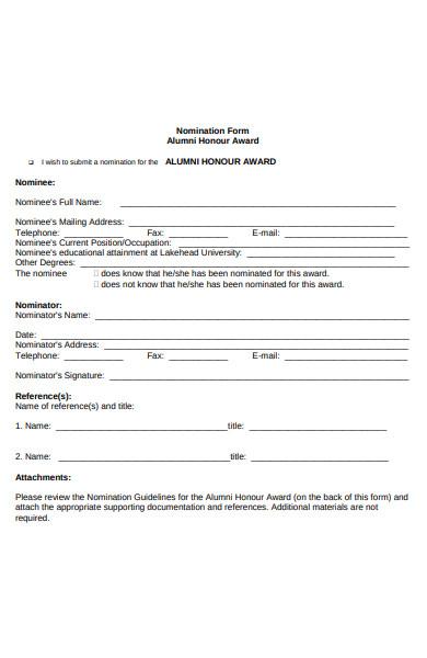 alumni honour form