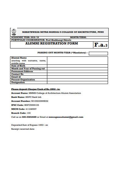 alumni meet registration form