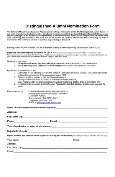 alumni nomination form