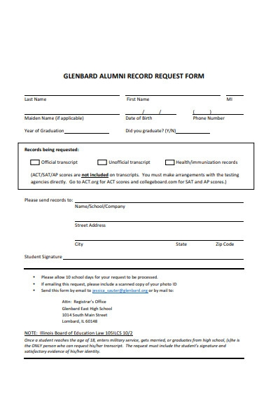 alumni record form