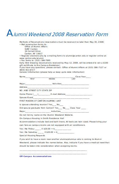 alumni reservation form