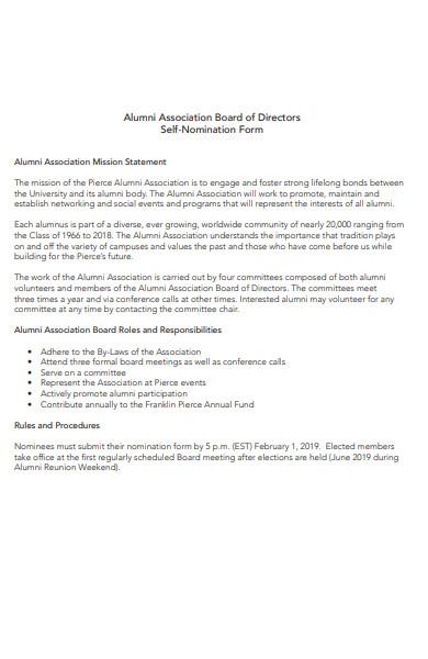 alumni self nominated form