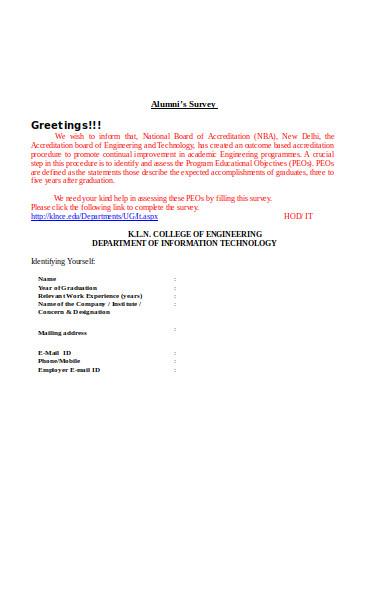 alumni survey form