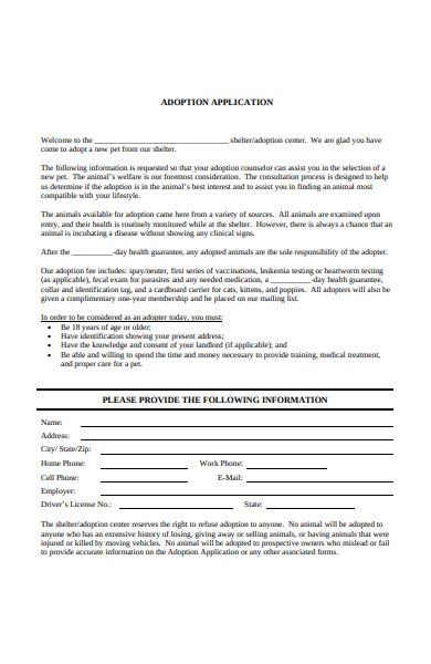 animal shelter adoption application form