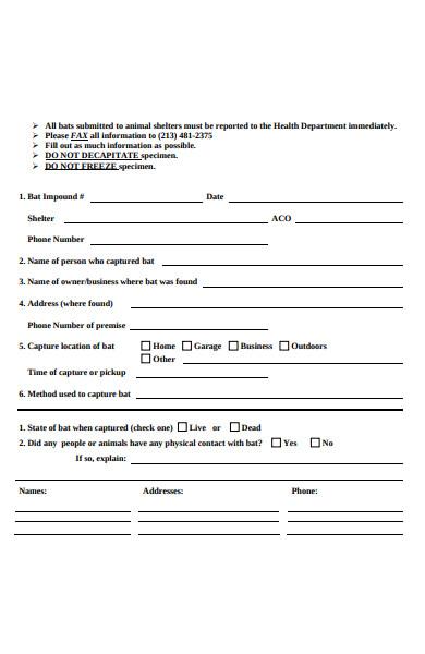 animal shelter bat submission form