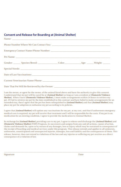 animal shelter consent form