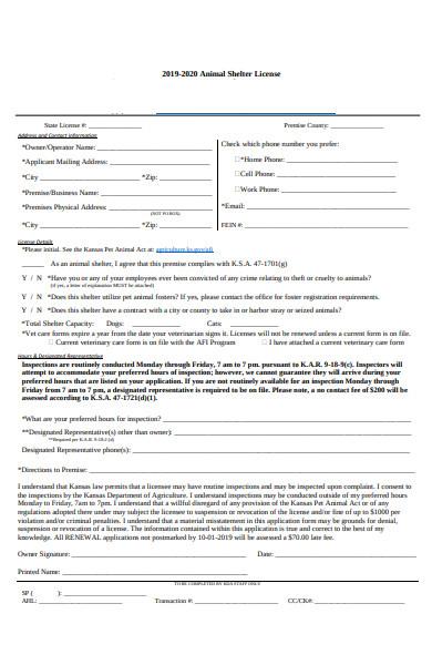 animal shelter license form