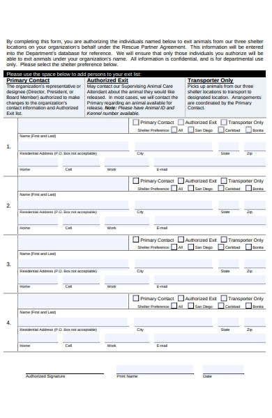 animal shelter preference form