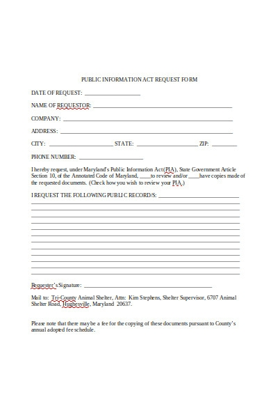 animal shelter public request form
