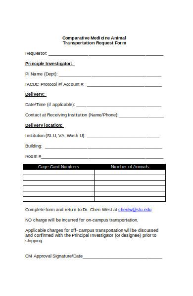 animal transportation request form