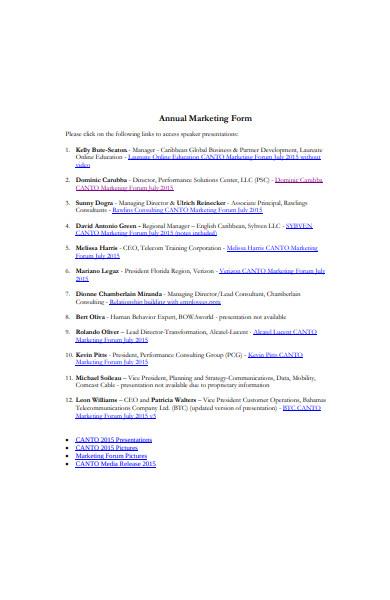 annual marketing form