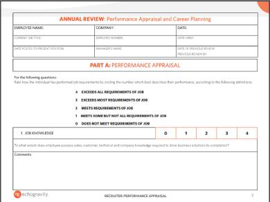 annual recruiter performance appraisal review form