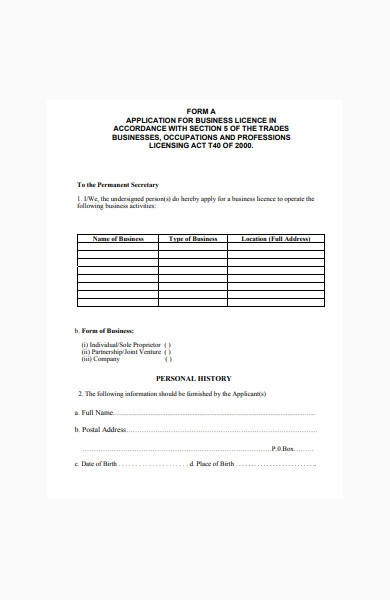 application form for business licence
