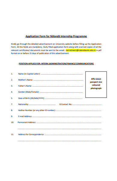 application form for nalanda internship programme