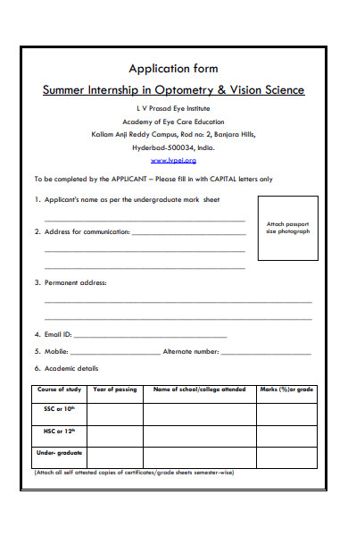 application form for summer internship