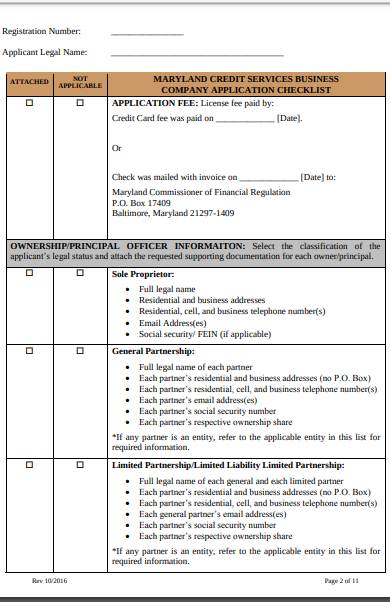 application for business credit checklist