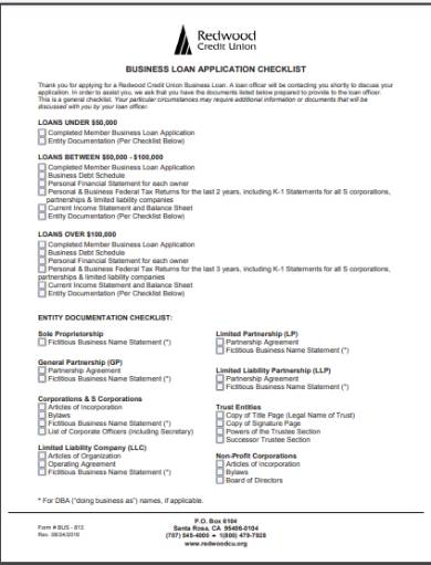application for business credit loan checklist
