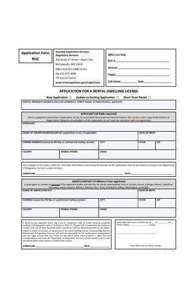 application for rental license