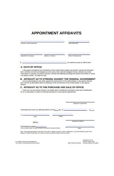 appointment affidavit form