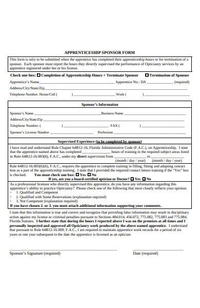 apprenticeship sponsorship form