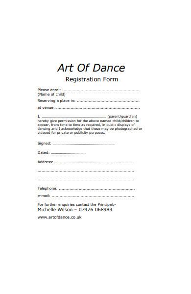 art dance registration form