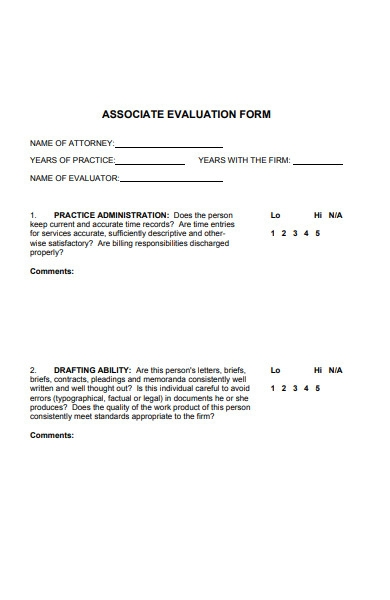 associate evaluation form