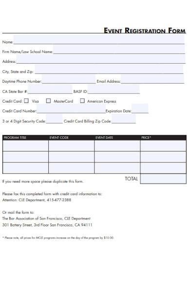 association event registration form