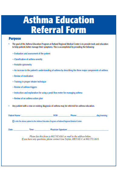asthma education referral form