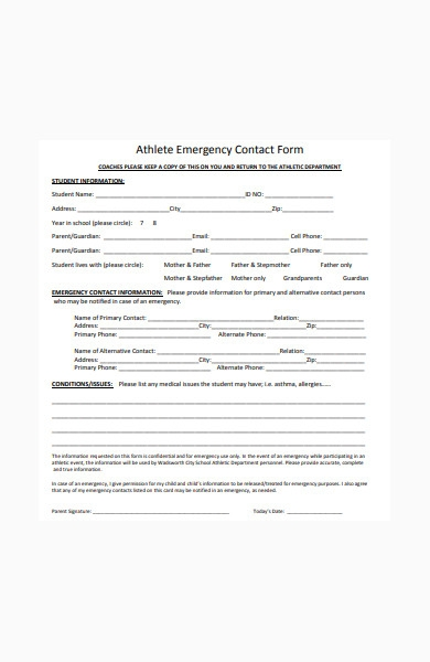 athlete emergency contact form