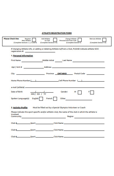 athletic registration form