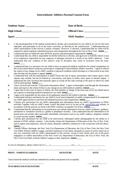 athletics parental consent form
