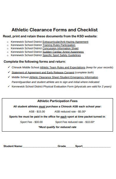 athletics sports form checklist
