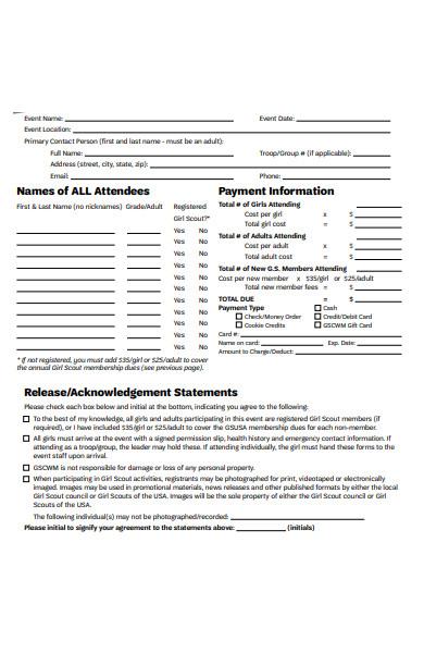 attendees event registration form