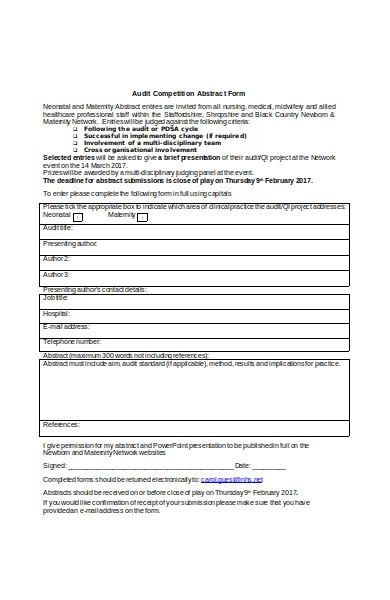 audit competition abstract form