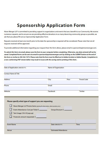 avenue sponsorship application form