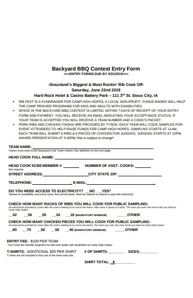 backyard contest entry form