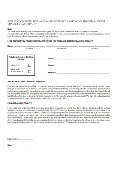 bank application form