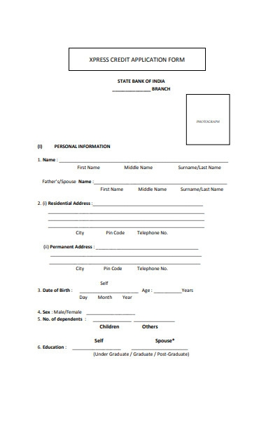 bank credit application form