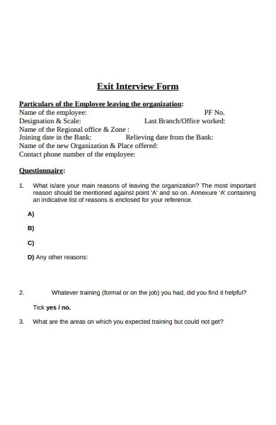 bank exit interview form