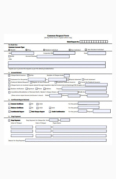 bank service common request form