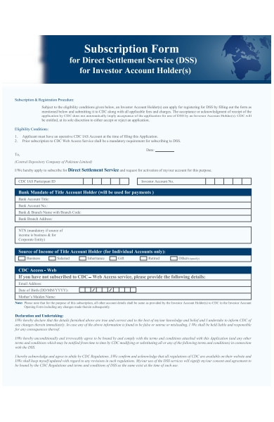 bank subscription form