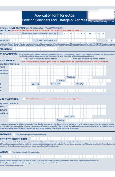 banking address form