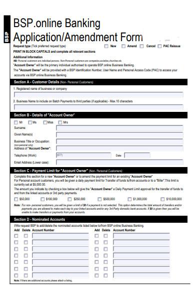banking amendment form