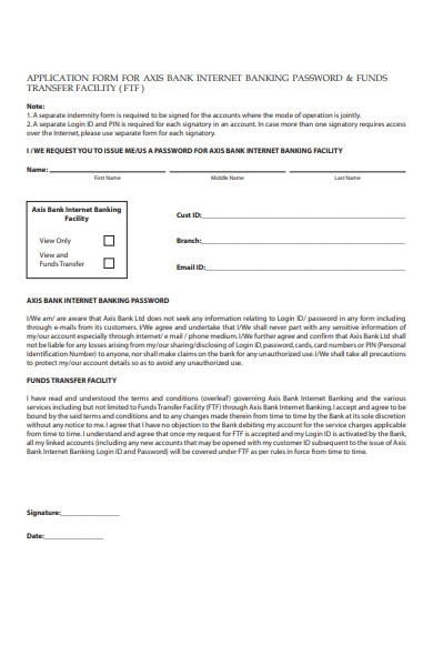banking funds form