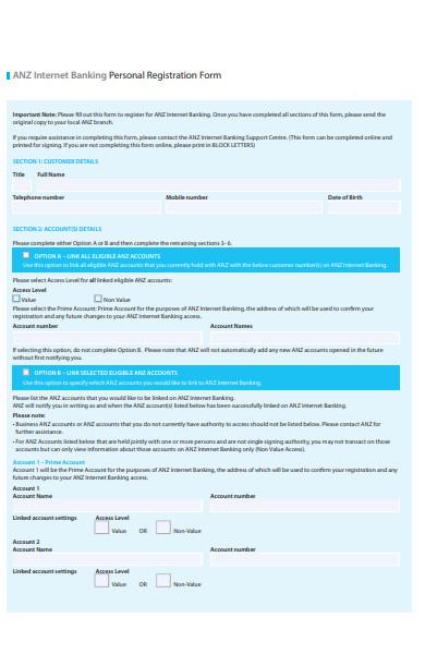 banking registration form