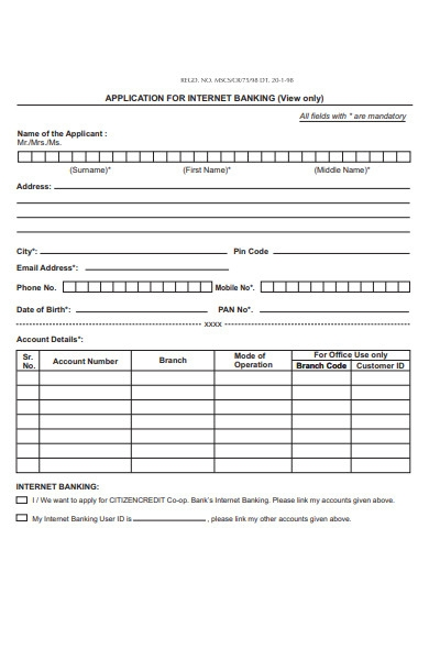 banking related form