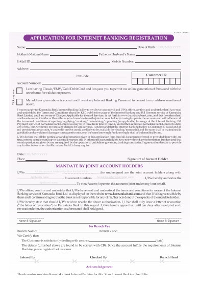 banking update form