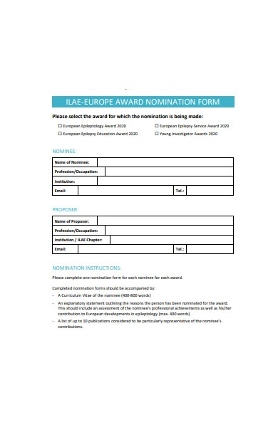 basic award nomination form