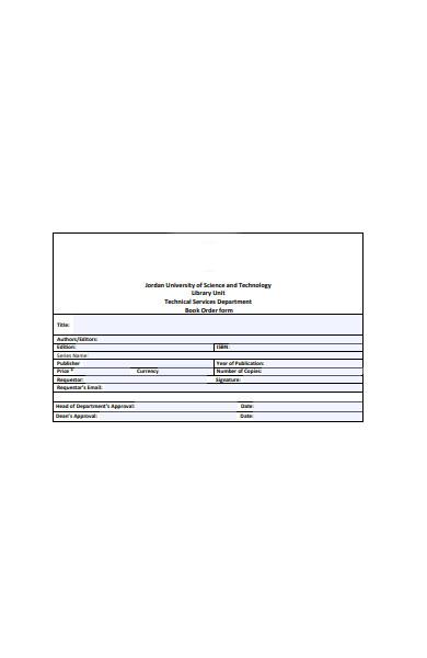basic book order form