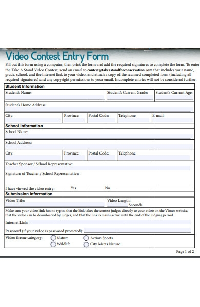 basic contest entry form